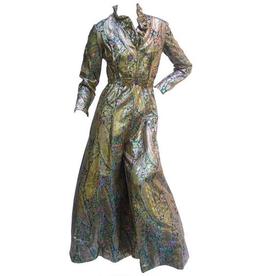 Pre-owned 1970s Gold Lame Peacock Feather Jeweled Jumpsuit c 1970 (655 AUD) ❤ liked on Polyvore featuring jumpsuits, suits outfits and ensembles, sexy jump suit, white v neck jumpsuit, white jump suit, gold jump suit and embellished jumpsuit