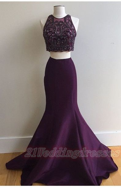 Purple Long Mermaid Beaded Prom Dresses,Two Pieces Evening Dresses http://21weddingdresses.storenvy.com/products/15833661-purple-long-mermaid-beaded-prom-dresses-two-pieces-evening-dresses