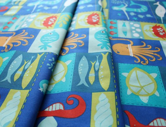 Monaluna under the sea / sea life patchwork