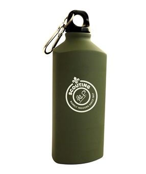 Heritage Scout water canteen. A stylish, triangular lightweight bottle featuring the Heritage Scout logo.