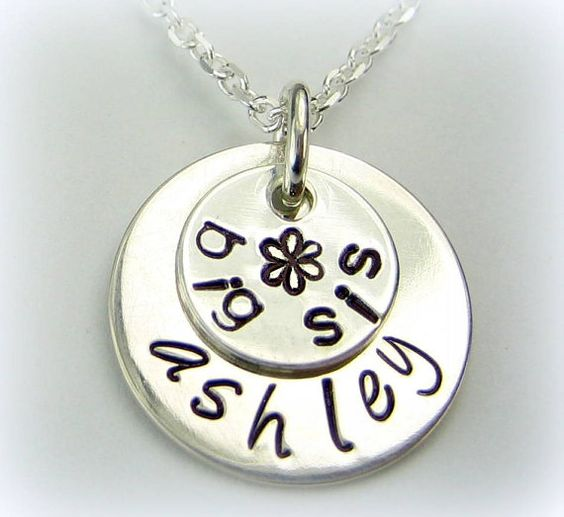 Big Sister Personalized name necklace 5/8 inch Sterling Silver handstamped jewelry