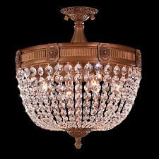 """Winchester 4 Light French Gold Crystal Semi-Flush Mount Ceiling Light 16"""" Round"""