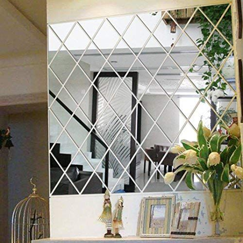 Woaills 3d Wall Stickers Diy Rhombus Mirror Sticker For Home