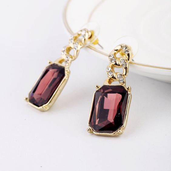 Noble Gold Plated Earrings With Kermesinus Artificial Gemstone