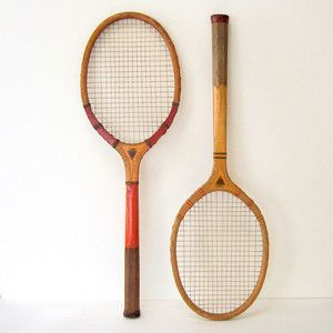 Vintage tennis racquets.