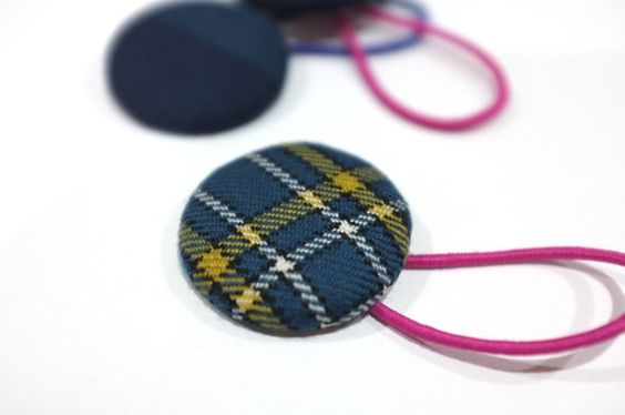 One Large Hair tie // Canberra tartan wool fabric by WombatandPoss