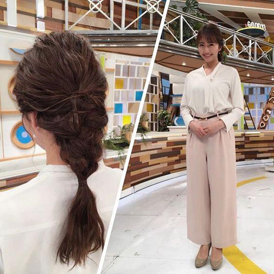 今日のグッディ衣装で白のトップスに薄ピンクのパンツの三田友梨佳アナの画像