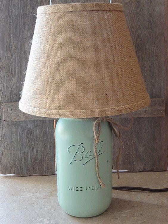 Mason Jar Lamp Mint Green Lamp Small Table Lamp by Rustic4you