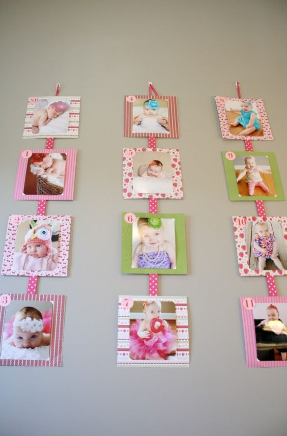 Sweet way to display monthly photos at first birthday!