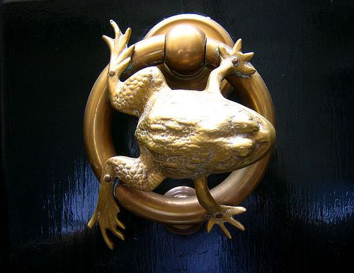 A great door knocker from a door at Zannetti Jewelers.