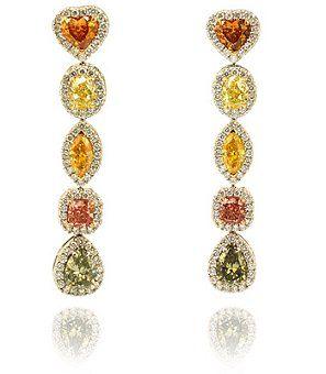 orange diamonds earrings - Google Search