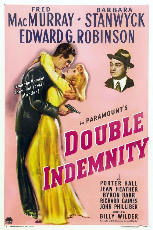 Double Indemnity Movie Poster - featuring in our top #pink vintage movie posters blog... #EatDrinkPink