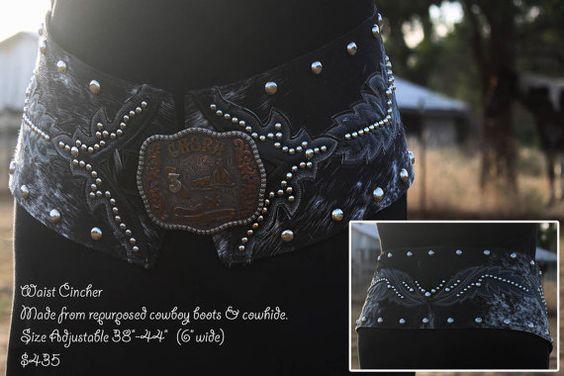 Black Cowhide Waist Cincher