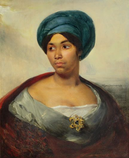 How rare to see a beautiful Black woman in an old painting. Love it. Eugene Delacroix, c. 1827