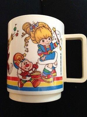 Vintage-Rainbow-Brite-Plastic-Mug-Cup-Hallmark-1983
