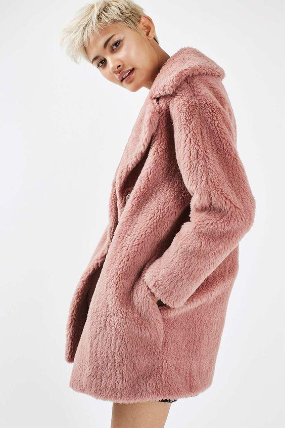 Pink Fluffy Coat Topshop | Down Coat