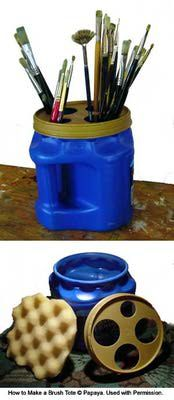Recycling+Plastic+Coffee+Containers   ... tip on how to make a brush tote from an old plastic coffee container