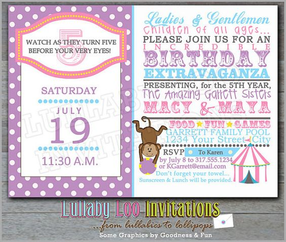 Carnival Birthday Invitations Girl: Product No. 161 - Circus birthday invitations - Under the Big Top Birthday - 12 Printed Invitations on Etsy, $18.00