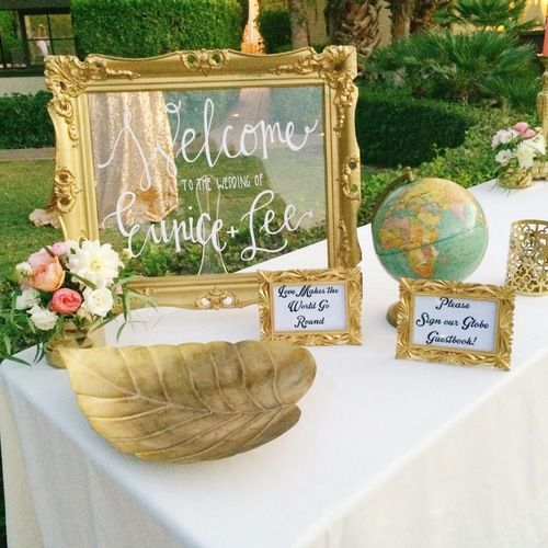 Welcome table with globe sign in book for guests perfect for Wedding table sign ideas