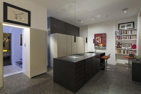 white cabinets, stone grey floor