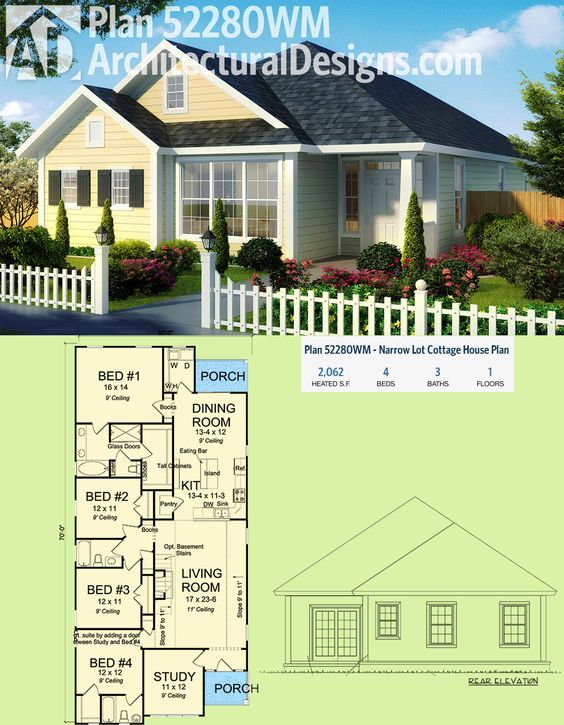 Plan 52280wm narrow lot cottage house plan house plans for Cottage house plans for narrow lots