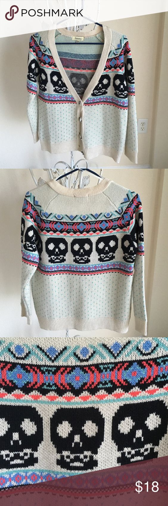 "Cute skull cardigan Cute v-neck skull pattern cardigan. Worn once or twice. Like new. Size marked as ""S/M."" 8 birdies Sweaters Cardigans"