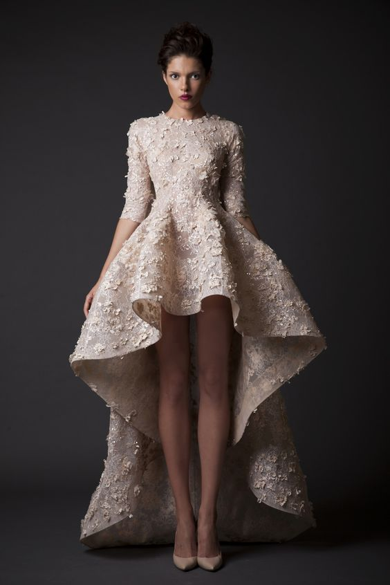 high/low off-white wedding dress - wedding ideas - wedding planning services - weddings by K'Mich in Philadelphia PA - krikor jabotian