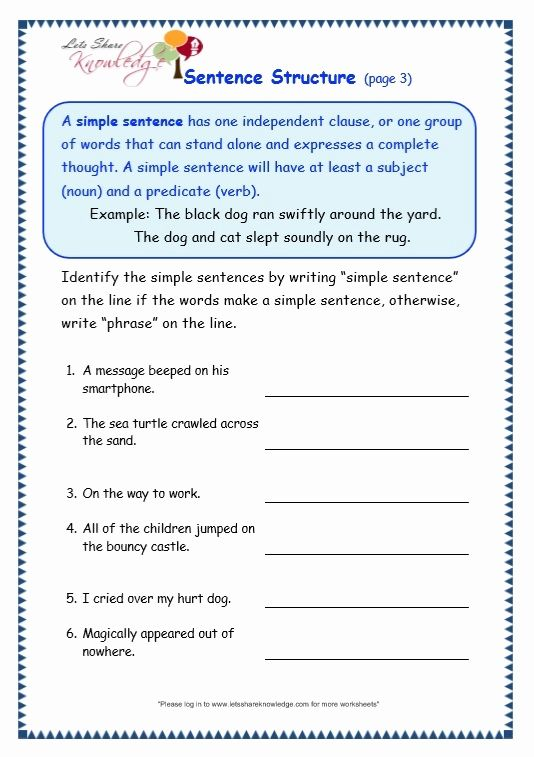 Image Result For Phonic Worksheets For Sentence Building 4th Grade Reading Level Complex Sentences Worksheets Sentence Structure Worksheets Sentence Structure Sentences and fragments worksheets
