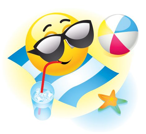 Summer emoticon has it going on--the sun, the beach, something cool to drink.
