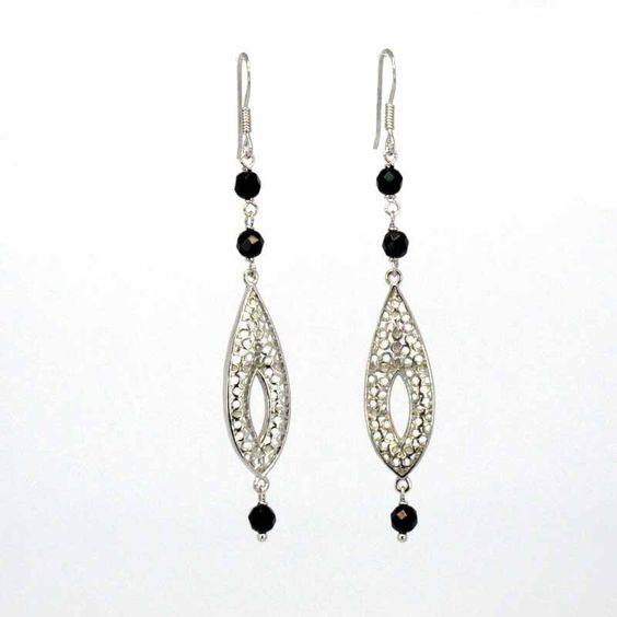 $38.90 Silver and onix earrings