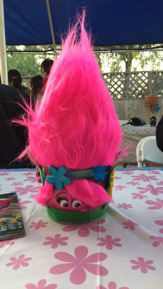 Trolls centerpieces that i made birthday party