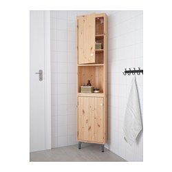 IKEA - SILVERÅN, Corner unit, light brown, , You can move the shelf and adjust the spacing according to your personal needs.You can mount the door to open from the right or left.Perfect in a small bathroom.
