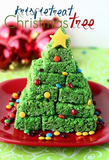Christmas tree rice crispies. I just might have to try this since I have a whole box of rice crispies in the cupboard.
