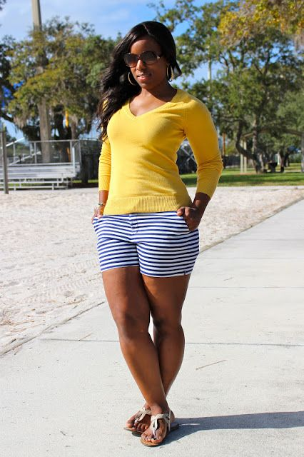 Curves and Confidence | Inspiring Curvy Women One Outfit At A Time: Weekend Wear: Striped Shorts