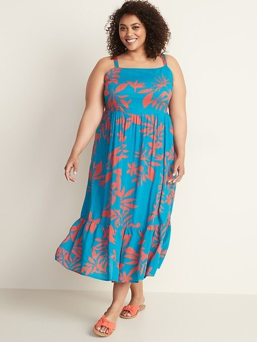 Fit & Flare Plus-Size Tiered Maxi Dress in 2019 | Plus size ...