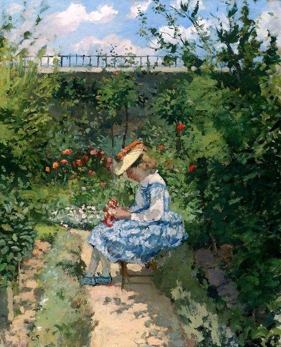 Camille Pissarro「Jeanne Pissarro,(Minette), Sitting in the Garden, Pontoise」(c.1872)