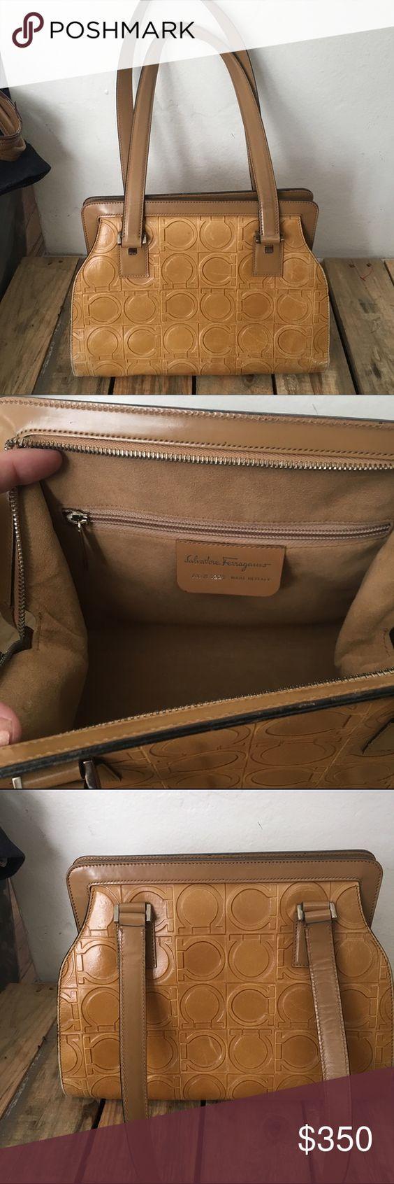 Ferragamo Tan Leather Monogram Logo Handbag EUC Authentic Beautiful Ferragamo Bag Inside is perfectly clean & rest of bag shows only the slightest bit of wear Ferragamo Bags Shoulder Bags