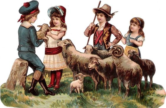 Oblaten Glanzbild scrap die cut chromo Kind  16,3cm child Schaf sheep lamb Lamm: