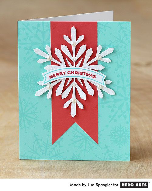 Freshen up your Christmas cardmaking with this red and pool color combo #HeroArts