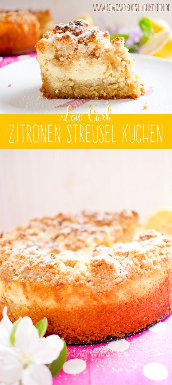Fruchtig cremiger low carb Zitronen Streuselkuchen