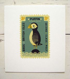 Puffin Stamp print by Tom Frost