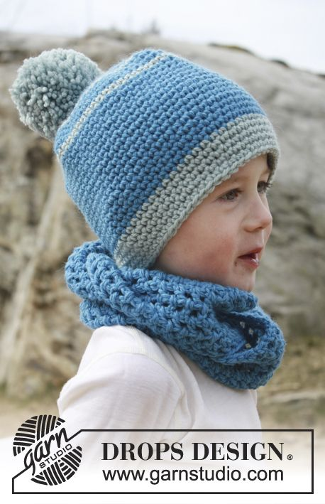 "Crochet DROPS hat and neck warmer in ""Nepal"". ~ DROPS Design:"
