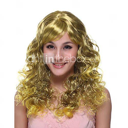 Capless lange hoge kwaliteit synthetische gouden krullend haar pruik