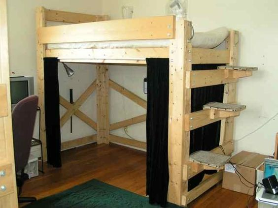 Hanging beds loft bed plans and custom bunk beds on pinterest for Suspended bed plans
