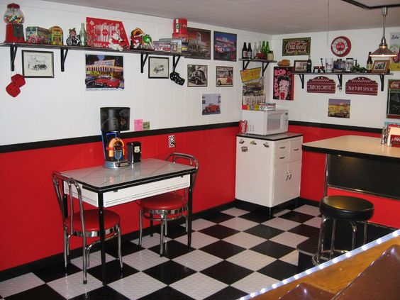 This is exactly what i want to do with my kitchen dining for Retro kitchen ideas pinterest