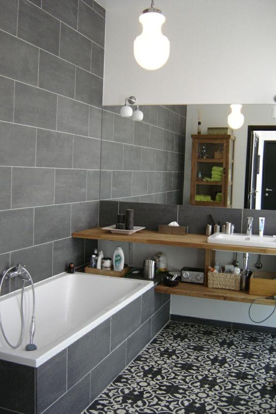 salle de bain gris et jolis carreaux design contemporain - Salle De Bain Contemporaine Carrelage