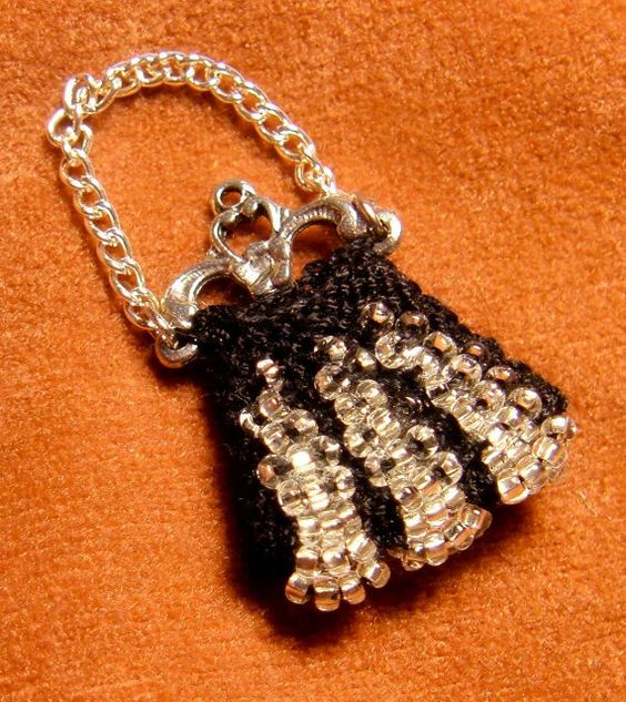 Miniature Knit Beaded Barbie Purse  Black and by RoslynTreasures, $6.00