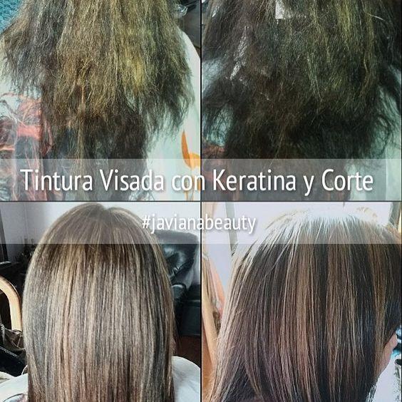 Reparación de cabello con tinte visado con keratina , más corte cabellosano cabellohermoso