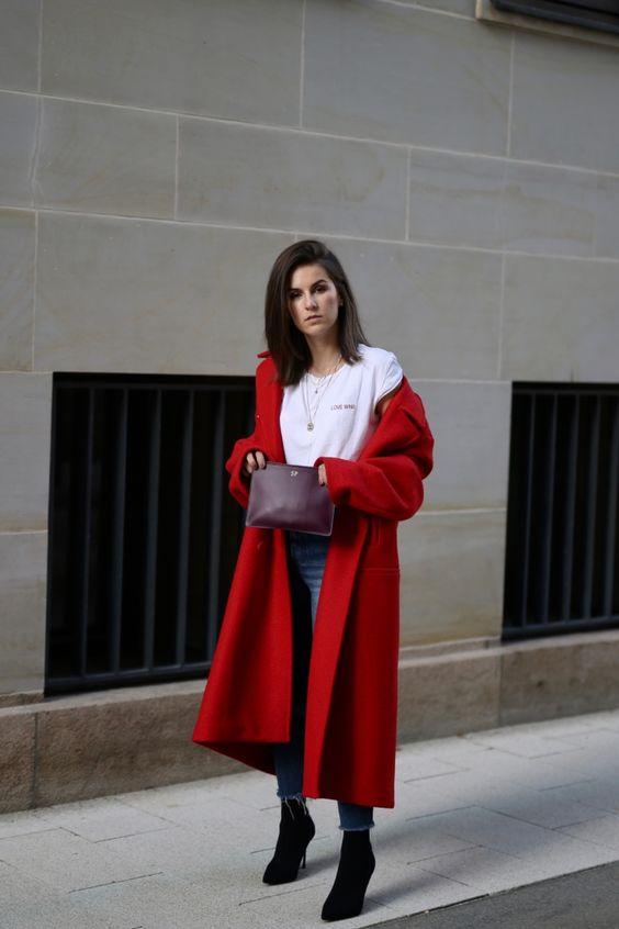 Red Coat Fall Look