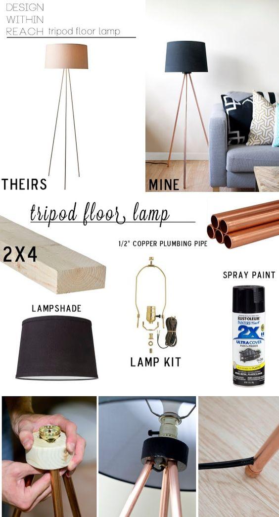 jolie lampe a faire soi m me d i y d c o b r i c o pinterest cuivre lampadaires et. Black Bedroom Furniture Sets. Home Design Ideas